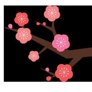 梅の枝のシンプルイラスト