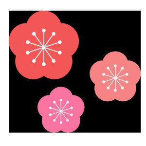 梅の花のシンプルイラスト02