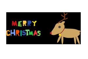 クリスマスカード-シンプルテンプレート(トナカイ)