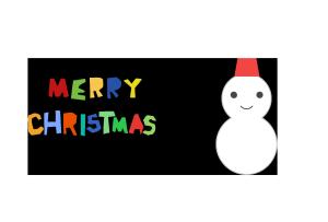クリスマスカード-シンプルテンプレート(雪だるま)