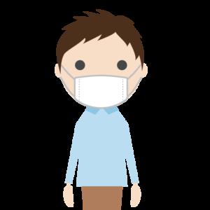 マスクを着用した若い男性のシンプルイラスト