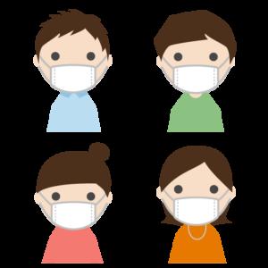 マスクを着用した若者のシンプルイラスト