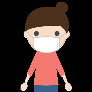 マスクを着用した若い女性のシンプルイラスト