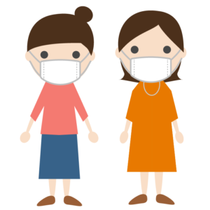 マスクを着用した若い女性のシンプルイラスト02