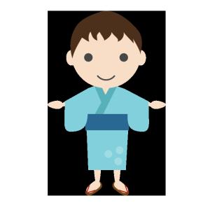 浴衣姿の男の子のシンプルイラスト