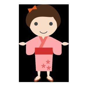 女の子(浴衣)のシンプルイラスト