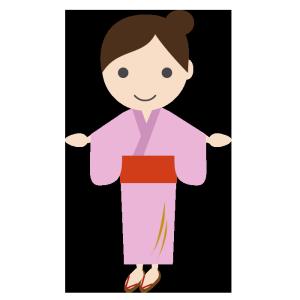 浴衣姿の女性のシンプルイラスト